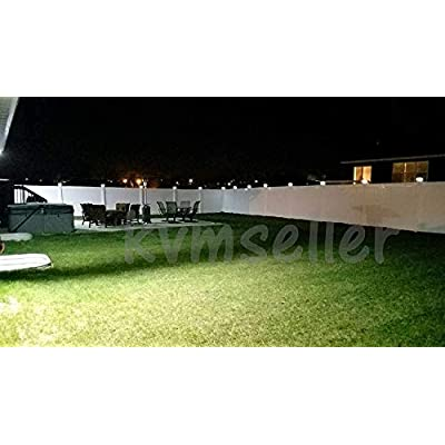 RELIGHTABLE 4 Pack Outdoor Garden 5 x 5 Solar LED Post Deck Cap Square Fence Light Landscape Lamp Lawn PVC Vinyl Wood (White)