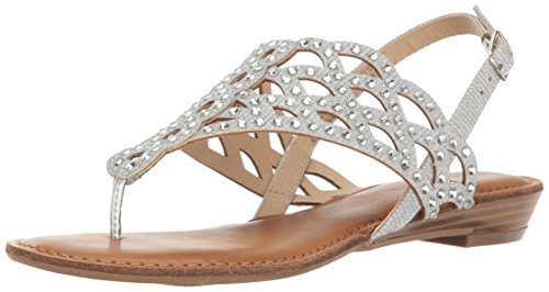 Heeled Sandal, Silver Faux
