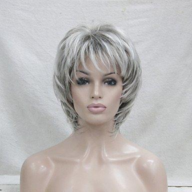 De la Mujer sintético peluca corta ondulado con Bangs gris de corte relieve/balayage pelo