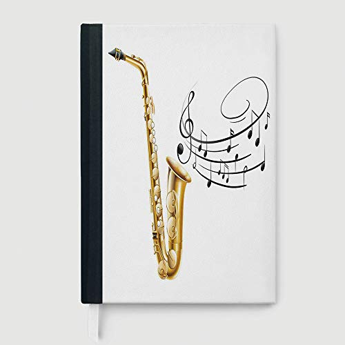 Classic Retro Hardcover Business Student Notebook,Jazz Music Decor,College Ruled Notebook/Composition/Journals/Dairy/Office Note Books,Illustration of Fancy Old Saxophone with Template Solo Vibes - Softcover Solos
