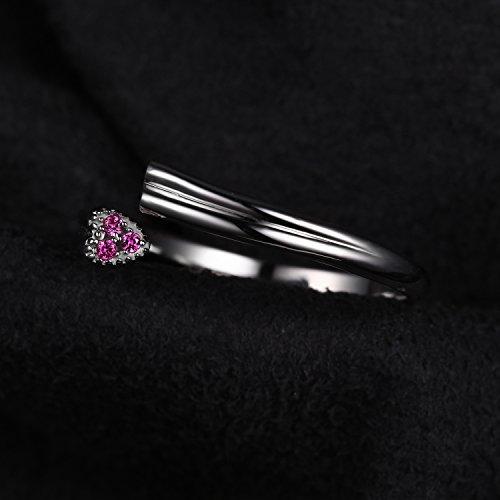 JewelryPalace Magnifique Bague Coeur Amour Ajustable Femme en Argent Sterling 925 en Rosé d'Alexandrie de Synthèse