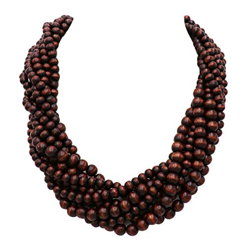Rosemarie Collections Women's Wooden Bead Multi Strand Statement Bib Necklace (Brown)