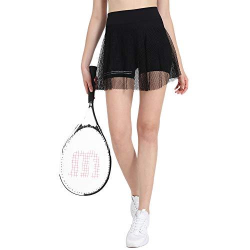 PLAYBOLD Girls Running Shorts Casual Pleated Tennis Seamless Skirt with Underneath Shorts Running Skorts -