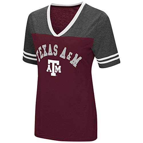 (Colosseum Women's NCAA Varsity Jersey V-Neck T-Shirt-Texas A&M Aggies-Maroon-Large)