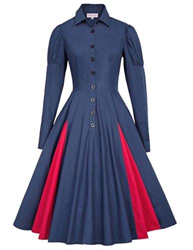 Gothic Dress Shirts (Retro Victorian Punk Cincher Shirt Collar Long Sleeve Cotton Dress BP366-3 S)