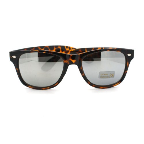 Turtle Shell Leopard horned Sunglasses with Reflective Mirror - Turtle Sunglasses Shell