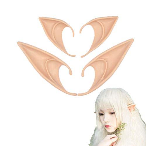 TRADERPLUS 2 Pairs Halloween Latex Pixie Elf Fairy Hobbit Costume Tip Ears Cosplay Masks (Light)