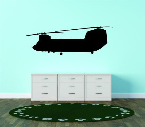 CH-47 Chinook War Army Cargo Helicopter US Boeing Bedroom Living Room Picture Art Graphic Design Image Vinyl Wall Decal Peel & Stick Sticker Mural Size : 12 Inches X 40 ()
