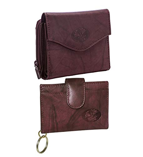 Buxton French Handbag - Mozlly Value Pack - Buxton Heiress Burgundy French Accordion Zip Purse - 4 Card Slots - 5 inch x 4 inch AND Pik-Me-Up Tab Card Case - 4.5 x 3.5 inch - ID Window - Handbags and Accessories (2 Items)