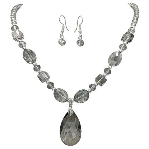 All Glass Simple Beaded Teardrop Dangle Statement Necklace Earrings Set (Light Grey)