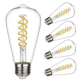 Vintage LED Edison Bulb,Daylight 5000K, Antique Style Flexible Spiral LED Filament Light Bulb, 4.5W Equivalent to 50W, ST19(ST64) Dimmable 450LM E26 Medium Base, Clear Glass (4.5W-5000K-4 Pack)