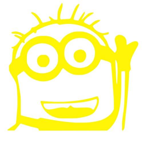 Minion Raise Hand Sticker Decal (12''x8'', Yellow)