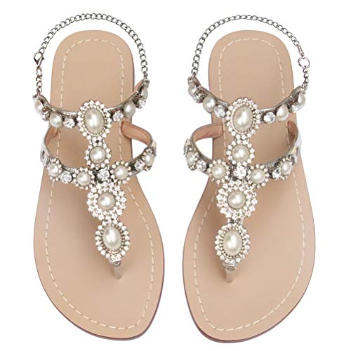 Mayou Women's Rhinestone Flat Sandals, Women Flip Flops with Beadeed Rhinestone Crystal Jeweled Sandal Shoes for Summer Beach Oceanside Holiday Outdoor (8 M US, Sliver#2) (Flip Flops For A Wedding)