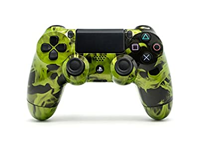 Sony PS4 DualShock 4 PlayStation 4 Wireless Controller - Custom Green Flames Design Un-Modded from Sony