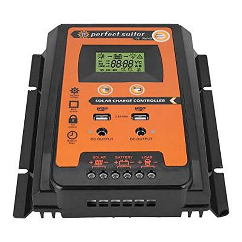 (Guanyunxiu Solar Charge Controller Solar Panel Battery Regulator with Dual USB LCD Display Over Voltage Protection, 50A)