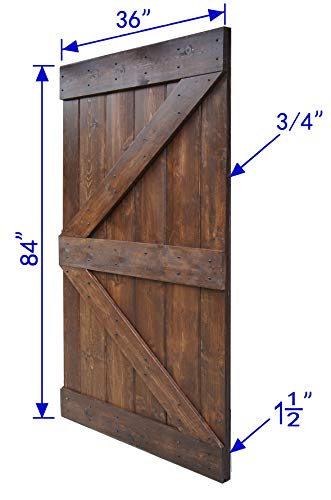 WELLHOME 6.6 FT Sliding Hardware Kit+ 36inX84in K Series DIY Solid Interior Barn Knotty Wood Painted Door (Dark walnut) by WELLHOME (Image #5)