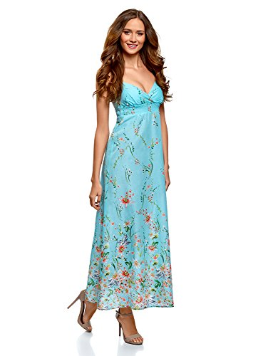 in Donna Cotone Abito Collection Turchese 7319f Stampato Spalline oodji con 5YWfXqfw