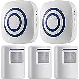 Motion Sensor Alarm, Wireless Security Driveway Alarm, Home Motion Sensor Detect Alert with 3 Sensor and 2 Receiver,38…