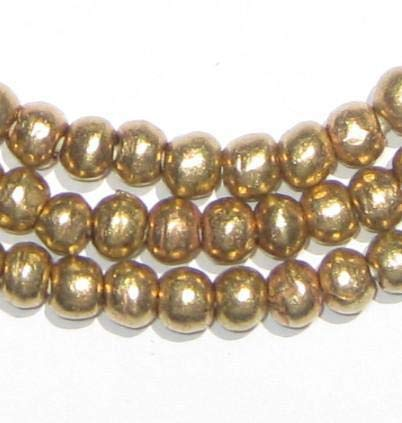 6mm Round Brass Beads - Full Strand of African Metal Spacer Beads - The Bead Chest ()