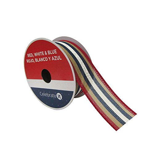 1.5' Striped Ribbon - Americana Patriotic 1.5'' x 9' Faux Burlap Wired Striped Ribbon Red, White & Blue Stripes Wired Edge