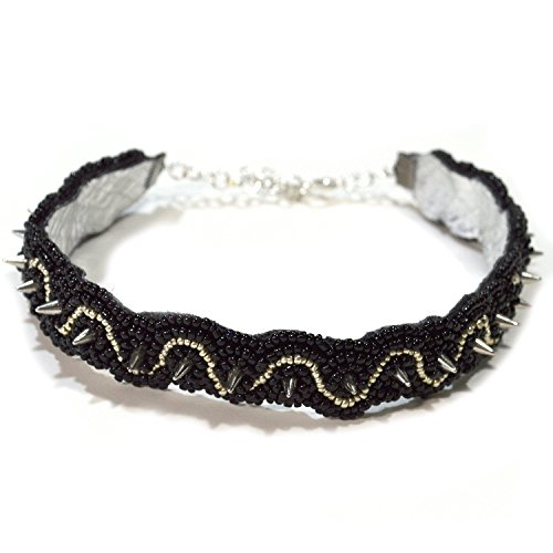 Spiked Choker Collar - Beaded in Black and Silvertone - Handmade Punk Jewelry - Made in USA