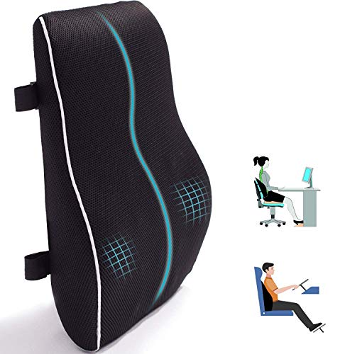 Qutool Lumbar Support Pillow with Double Adjustable Strap Orthopedic Memory Foam Seat Cushion Relief Sciatica and Tailbone Pain for Car/Wheelchair/Office Chair