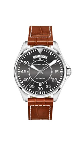 Auto Dial Black (Hamilton Khaki Pilot Date Auto 42mm Black Dial Mens Watch H64615585)