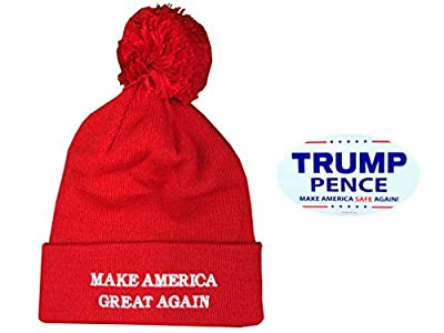 Donald Trump Make America Great Again Pom Pom Beanie Hat with Free Bumper Sticker