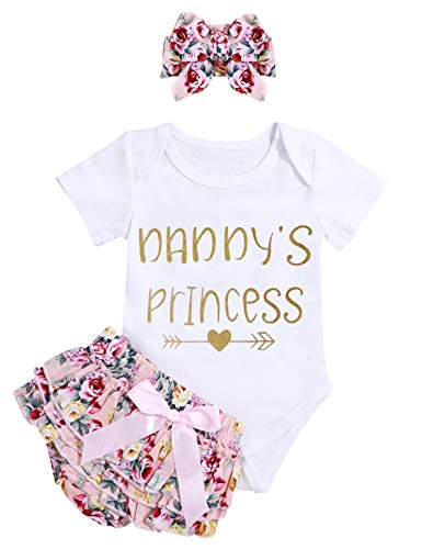 Infant Baby Girl Clothes Daddy's Princess Letter Print Romper Bodysuit Floral Bloomers with Headband 3PCs Toddler Outfits Set