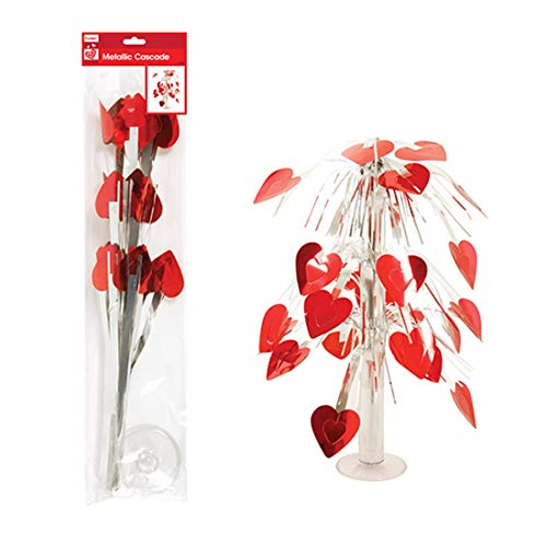 Red and Silver Heart Cascading Valentine's Day Centerpiece Table Decoration, 19 Inch