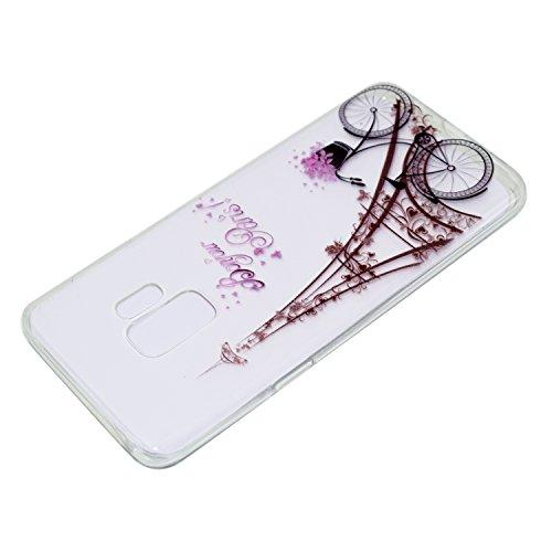 Cover para Samsung Galaxy S9 ( No hacer coincidir Samsung Galaxy S9 Plus ) , WenJie Diente de león púrpura Transparente TPU Silicona Suave Funda Case Tapa Caso Parachoques Carcasa Cubierta para Samsun MM22