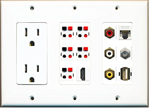 - RiteAV - (3 Gang 15A Outlet HDMI Coax Cat5e Composite Video 5 Speaker USB Wall Plate
