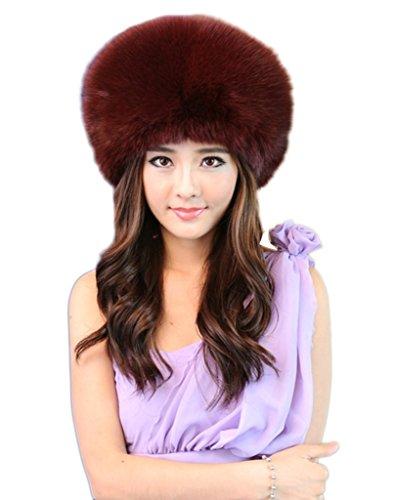 YR Lover Women's Winter Fox Fur Trapper Hats Warm Earmuffs Thicken Beret Caps