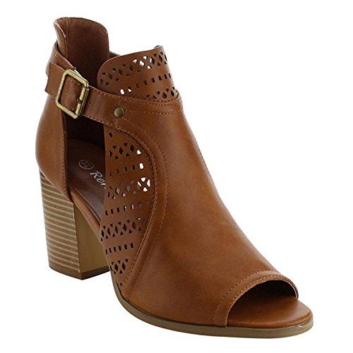 Peep Toe Buckle Sandals - Reneeze AF82 Women's Cut Out Buckle Peep Toe Heels, Color:CAMEL, Size:8.5