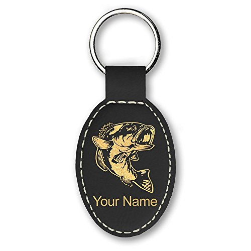 Oval Keychain, Bass Fish, Personalized Engraving Included - Bass Keychain