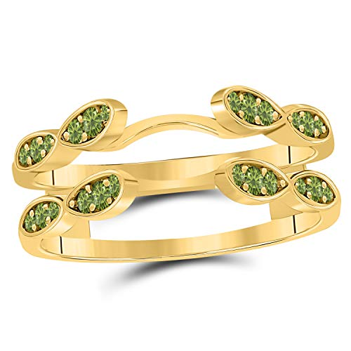 (Jewelryhub 14k Yellow Gold Plated .925 Sterling Silver Infinity Wedding Enhancer Ring Guard with CZ Green Peridot (0.33 ct. tw.))