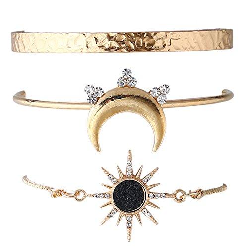 ISAACSONG.DESIGN Bohemian Multi Layer Vintage Tassel Beaded Charm Gold Tone Bracelet Set for Women and Girls (Sun, moon charm cuff bangle set) -