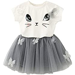 2017 Baby Girls Kids Cat Cry Shirt Top Butterfly Tutu Skirt Dress Sets (1-2 Years, A)