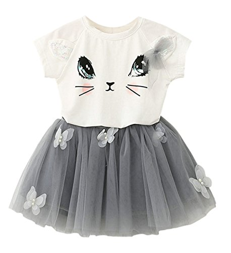 Girls Shirt Butterfly Skirt Dress