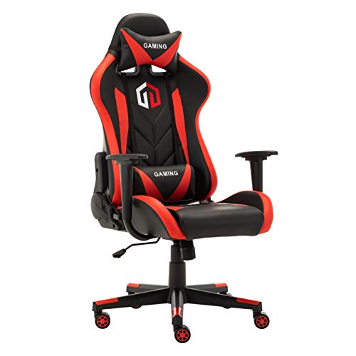 Gaming Chair Racing Office Chair Computer Desk Chair Executive and Ergonomic Reclining Swivel Chair with Headrest and Lumbar Cushion (Red)