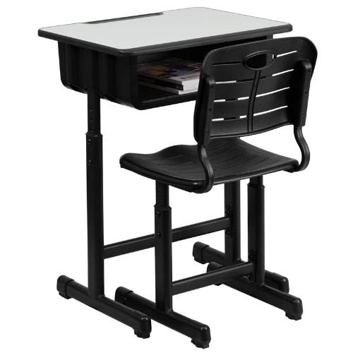 Set Desk Chair (Flash Furniture Adjustable Height Student Desk and Chair with Black Pedestal Frame)