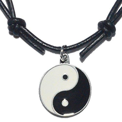 Native Treasure - Black White Ying Yang Good Luck Pewter Enamel Pendant on Adjustable Black Leather Cord ()