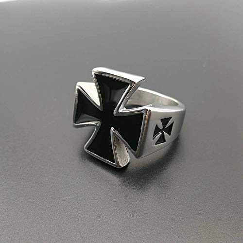 DeemoShop German Army Iron Cross Ring Stainless Steel Jewelry Gothic Punk Motor Biker Men Ring