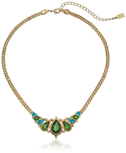 Green Zircon Necklace - 1928 Jewelry Gold-Tone Green and Blue Zircon-Color Crystal Pear Shape Bib Necklace, 16
