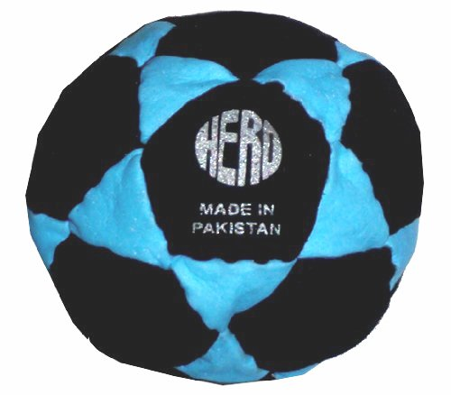 Hero Black & Neon Blue 32-Panel Hacky Sack / Footbag - Comes with Tips & Game Instructions -