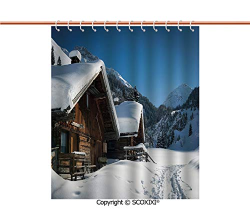 SCOXIXI Shower Curtain,for Adult,Wooden Houses on Austrian Mountains Snowy Forest Cottage Holiday Destination Photo,W72XL72 Inches