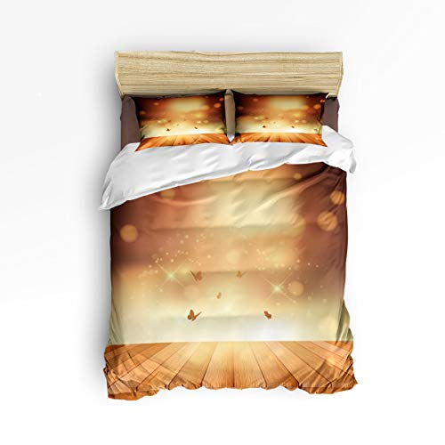(Pink Sky 4 Pieces Duvet Cover Sets Beding Sets,Cool Butterfly and Firefly on The Board Bed Sheet Set,Include 1 Comforter Cover 1 Bed Sheets 2 Pillow Cases King)