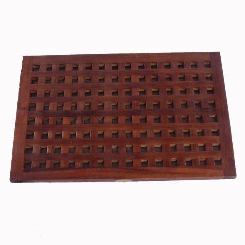 31'' X 18'' Large Espalier Lattice Teak Bath & Shower Floor Mat by Decoteak