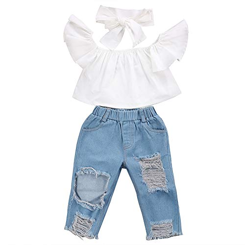 3Pcs Toddler Girl Baby Off Sloulder Top Ruffle Blouse + Blue Ripped Long Jeans + White Bowknot Headband Sets (White-Blue, 2-3 T)