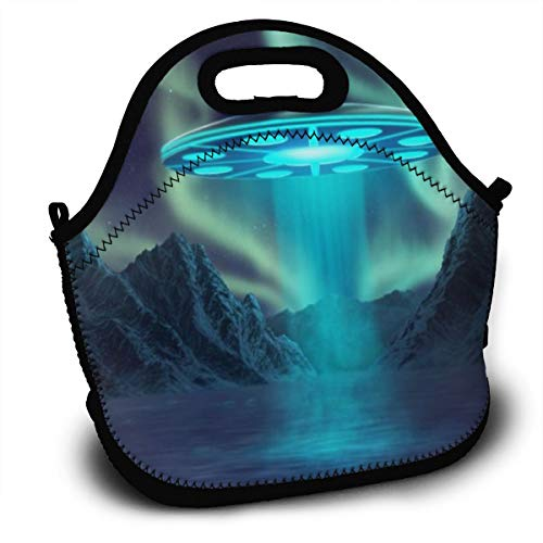 Dejup Lunch Bag Dazzling Aurora Tote Reusable Insulated Lunchbox, Shoulder Strap with Zipper for Kids, Boys, Girls, Women and Men -